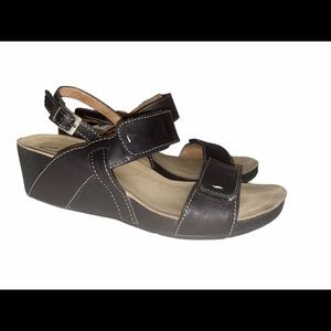 Clarks Black Leather Alto Disco Wedge Sandals